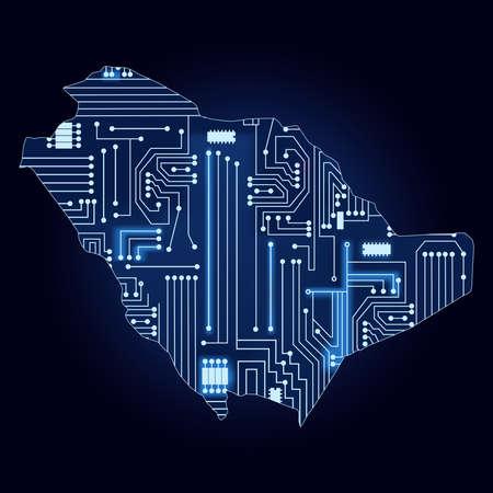 サウジアラビアの技術電子回路を用いた等高線。  イラスト・ベクター素材