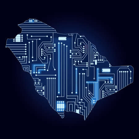 Contour map of Saudi Arabia with a technological electronics circuit. Illustration