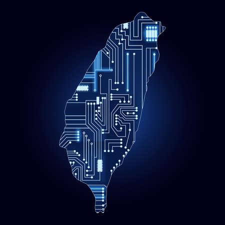 대만의 기술 전자 회로와 윤곽선지도.