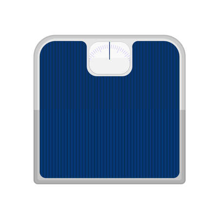 weighing scale: Bathroom scale. Blue bathroom scale isolated on a white background.
