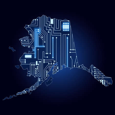 alaskan: Contour map of Alaska with a technological electronics circuit. Illustration