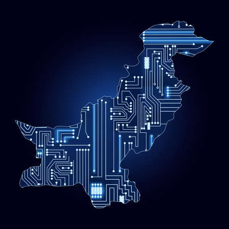 pakistani: Contour map of Pakistan with a technological electronics circuit.