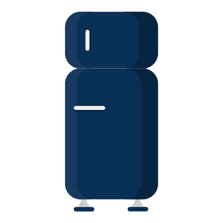 Front view of a blue refrigerator closed. Isolated on a white background.