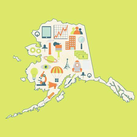 alaskabo: Karta över Alaska med teknikikoner. Contour karta över Alaska med ikoner av teknik, affärer, vetenskap, kommunikation