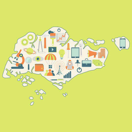 education technology: Map of Singapore with technology icons. Contour map of Singapore with icons of technology, business, science, communication Illustration