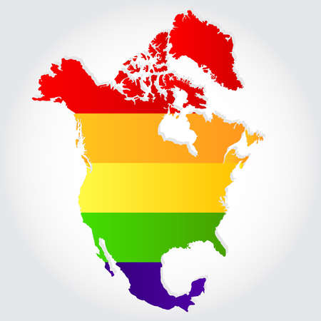 sex discrimination: Rainbow flag in contour of North America. Lgbt flag  in contour of North America with light grey background