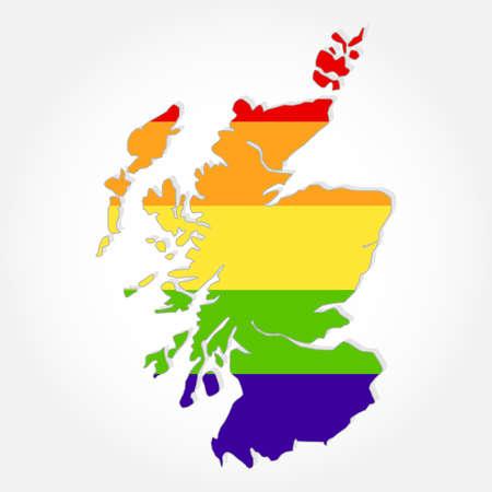 sex discrimination: Rainbow flag in contour of Scotland. Lgbt flag  in contour of Scotland with light grey background