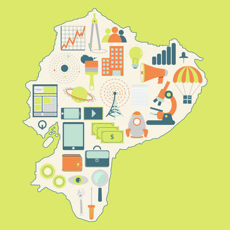 equator: Map of Equator with technology icons. Contour map of Equator with icons of technology, business, science, communication Illustration