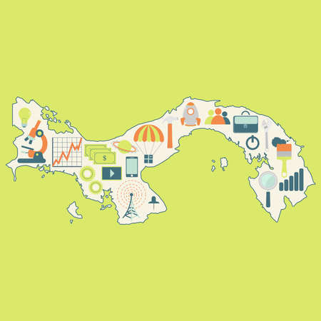 panamanian: Map of Panama with technology icons. Contour map of Panama with icons of technology, business, science, communication Illustration