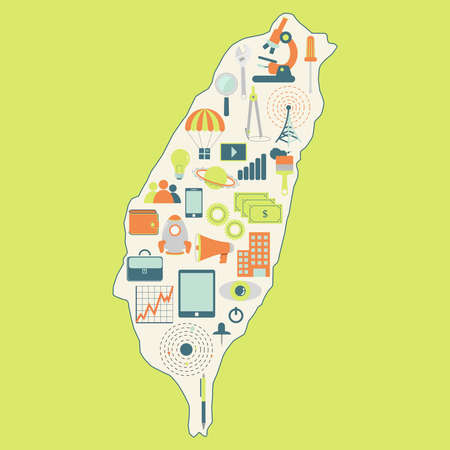 university: Map of Taiwan with technology icons. Contour map of Taiwan with icons of technology, business, science, communication