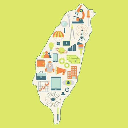 Mapa de Taiwán con iconos de la tecnología. Correspondencia de contorno de Taiwán con los iconos de la tecnología, los negocios, la ciencia, la comunicación Vectores