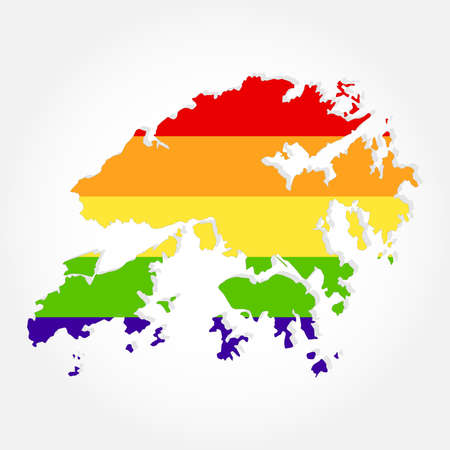 chinese sex: Rainbow flag in contour of hong kong. Lgbt flag  in contour of Hong Kong with light grey background Illustration