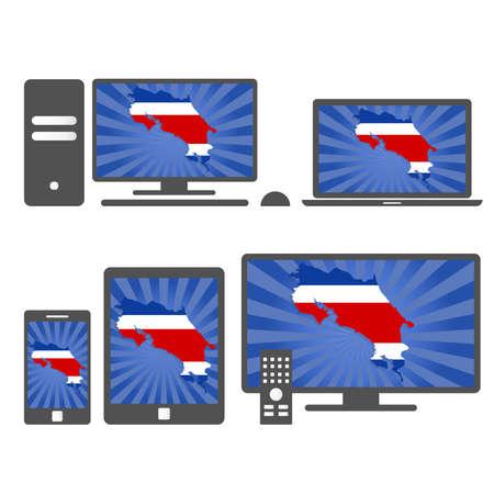 rican: Los dispositivos electr�nicos con el mapa de Costa Rica. Muchos medios de comunicaci�n del dispositivo (tableta, PC, tel�fono m�vil, ordenador port�til, smart tv) con el mapa y la bandera de Costa Rica