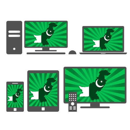 islamabad: Electronic devices with the map of Pakistan. Many device media (tablet, pc, cellphone, laptop, smart tv) with the map and flag of Pakistan.