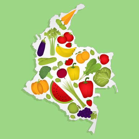 Karte von Kolumbien voller Obst und Gemüse (Tomaten, Apfel, Orange, Aubergine, Kohl, Gurken, Brokkoli, Trauben, Rucola, Bananen, Paprika, Kürbis, Sellerie, grüne Zwiebeln, Rüben, Erdbeeren, Wassermelonen, Karotten). Grüner Hintergrund.