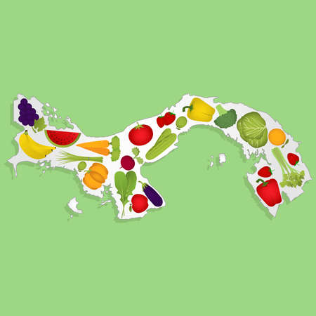 panamanian: Map of Panama full of fruits and vegetables (tomato , apple, orange , eggplant, cabbage, cucumber , broccoli, grapes, arugula, banana, peppers, squash , celery, green onions , beets, strawberries, watermelon, carrot). Green background