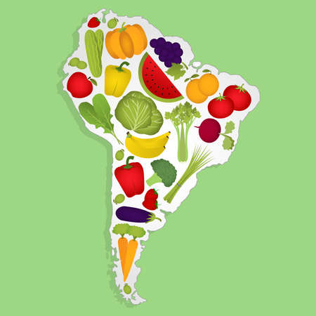 Map of South America full of fruits and vegetables (tomato , apple, orange , eggplant, cabbage, cucumber , broccoli, grapes, arugula, banana, peppers, squash , celery, green onions , beets, strawberries, watermelon, carrot). Green background.