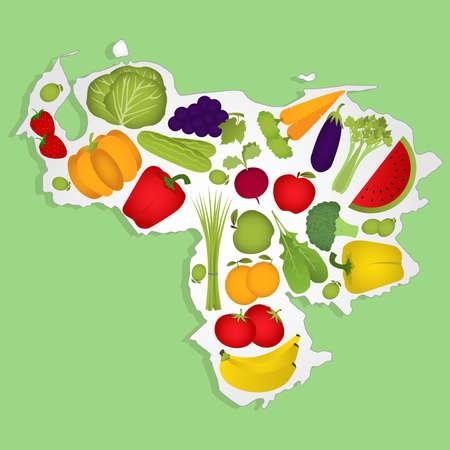 venezuelan: Mapa de Venezuela llena de frutas y hortalizas (tomate, manzana, naranja, berenjena, repollo, pepino, br�coli, uvas, r�cula, pl�tano, chile, calabaza, apio, cebollas verdes, remolacha, fresas, sand�a, zanahoria). Fondo verde.