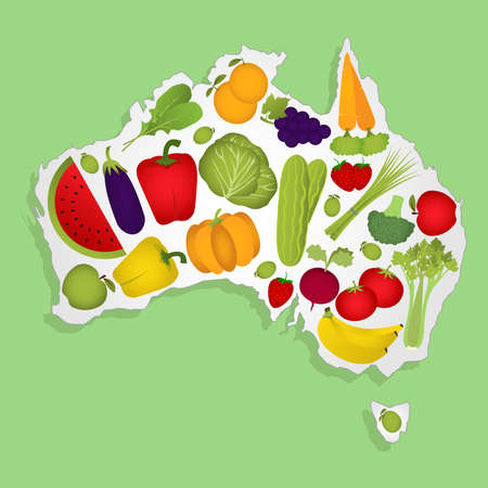 Map of Australia full of fruits and vegetables