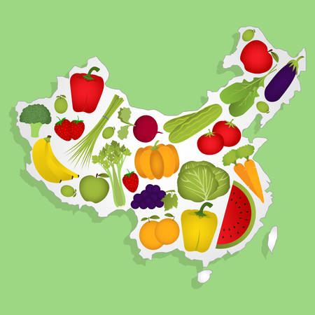 national fruit of china: Map of China full of fruits and vegetables Illustration