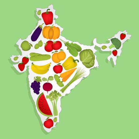 Carte de l'Inde plein de fruits et légumes