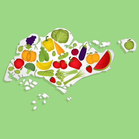 Map of Singapore full of fruits and vegetables