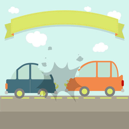 car accident: Two cars hit head-on. Flat design. Ribbon for insert text.