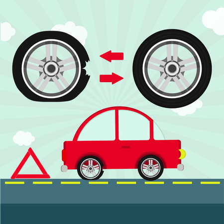 tire: Car with flat tire on the road and warning triangle. Detail showing tire change.