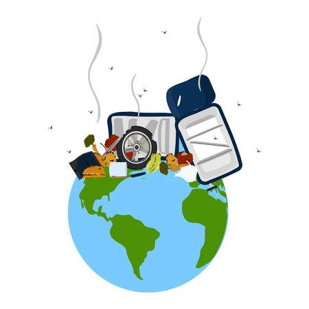 mundo contaminado: Pila de basura (fruta podrida, neum�ticos viejos, electrodom�sticos da�ados, ollas vac�as) apilados en el planeta tierra