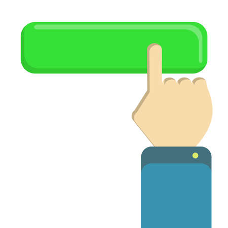 clicking: Index finger of a male hand clicking a green button. White background. Isolated. Illustration