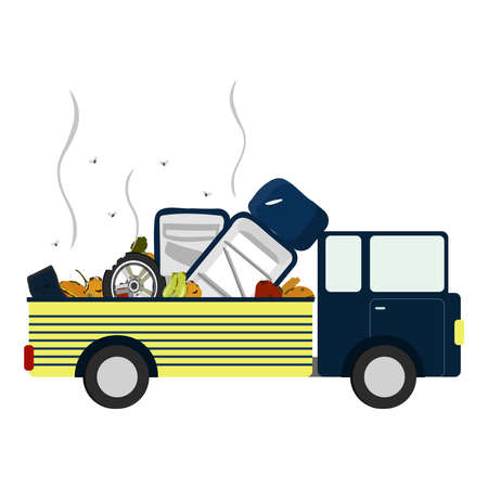 Pick up with garbage, rotten fruit, old tire and refrigerator spoiled in the body. White background. Isolated.