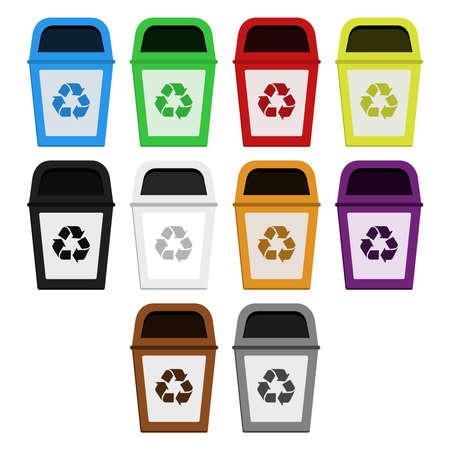Gekleurde bakken voor selectieve inzameling van papier, plastic, glas, metaal, hout, medisch afval, radioactief afval, organisch afval Stock Illustratie