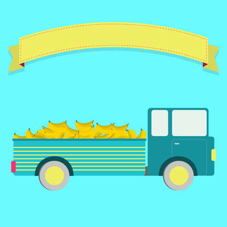 Truck carrying bananas. Blank ribbon for insert text. Vector