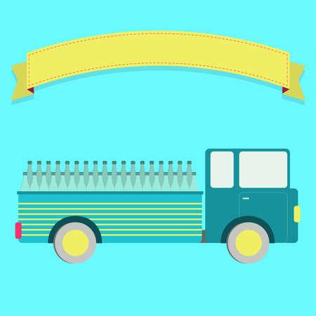 bottling: Truck carrying bottles. Blank ribbon for insert text.