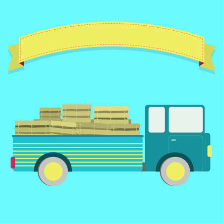 crates: Truck carrying crates. Blank ribbon for insert text. Illustration