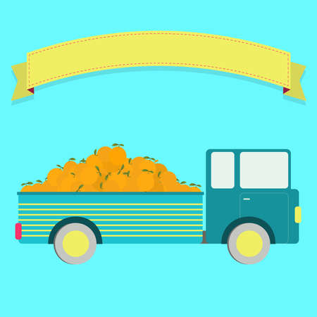 Truck carrying oranges. Blank ribbon for insert text. Vector
