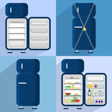 Four refrigerators: open and empty, closed, locked, open and full of food Vector