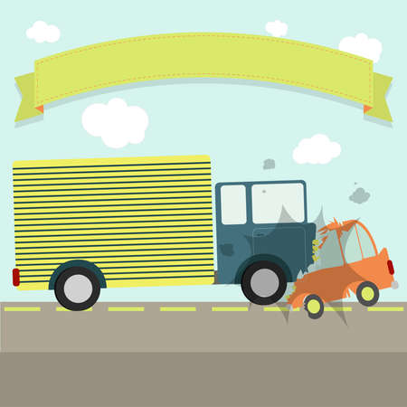 Traffic accident. A car and a truck hit head-on on the road. Flat design. Ribbon for insert text. Illustration