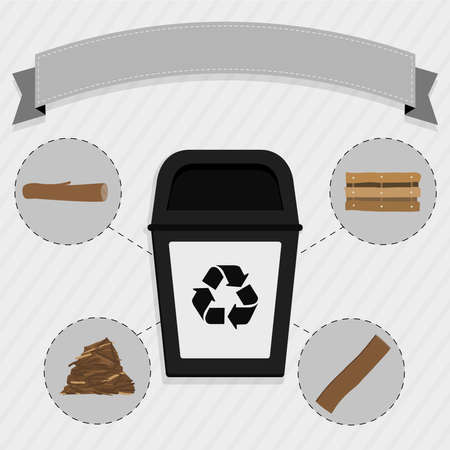 selective: Wood selective collection. Black trash for the selective collection of wood.