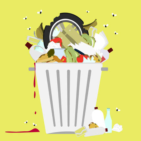 rotten: Garbage can full of trash. Large trash bin overflowing garbage (rotten fruit, old tires, packing of plastic, metal and glass). Trash fallen to the ground. Flies flying.