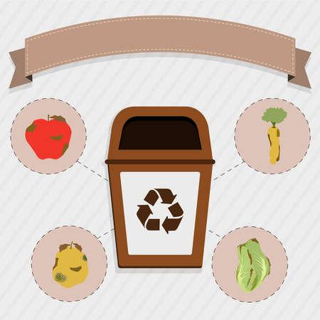 basura organica: La comida org�nica recogida selectiva. Basura de Brown para la recogida selectiva de restos de alimentos org�nicos. Manzana podrida, zanahoria, naranja y repollo.