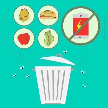 desechos organicos: Residuos t�xicos independiente. Separaci�n de los residuos org�nicos de los residuos t�xicos para el medio ambiente, como las bater�as.