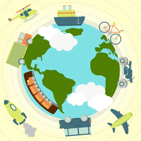 Transport around the world. Transportation (plane, ship, car, truck, motorcycle. Bicicletra, subway, rocket) around the planet Earth.