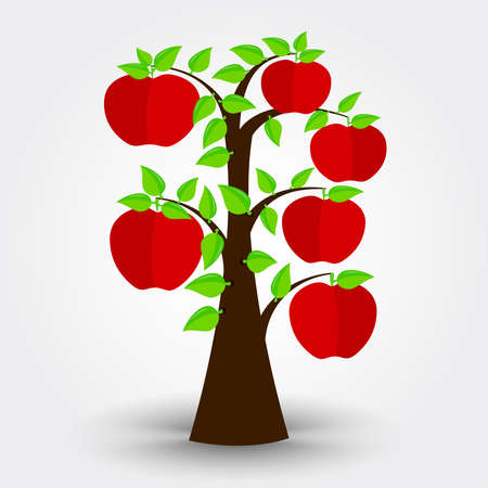 apple tree isolated: Apple tree isolated on a gray background with shadow. Editable. Illustration