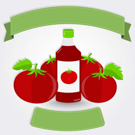 tomato sauce: Ketchup bottle and tomatoes. Tomato sauce or ketchup bottle surrounded by tomatoes. Blank ribbon for insert text. Gray gradient background with shadow.