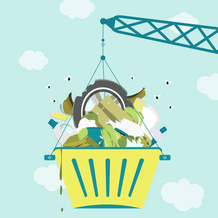 Crane carrying a bucket full of garbage with flies around. Vektorové ilustrace