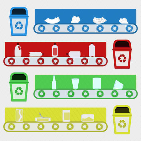 segregate: Conveyor with recycled materials in the recycling factory. Illustration