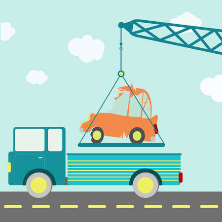 crashed: Crashed car on the truck. Crane carrying a crashed car being put on a truck on the road. Blue sky in the background. Stock Photo