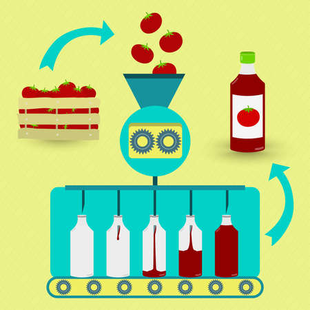 fabrication: Ketchup fabrication process. Tomato sauce or ketchup series production. Fresh tomatoes being processed. Bottled tomato sauce.