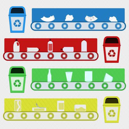 raccolta differenziata: fabbrica di riciclaggio. Trasportatore con materiali riciclati in fabbrica di riciclaggio. Riciclaggio del vetro plastica carta e metallo.
